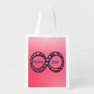 Bolso reutilizable del amor infinito bolsas para la compra