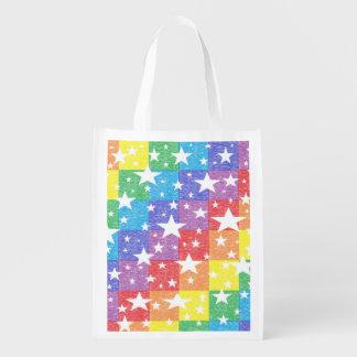 Bolso reutilizable del arco iris del remiendo y de bolsas de la compra