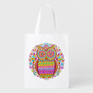 ¡Bolso reutilizable del búho colorido lindo - arte Bolsa Reutilizable