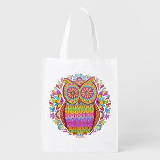 ¡Bolso reutilizable del búho colorido lindo - arte Bolsas De La Compra