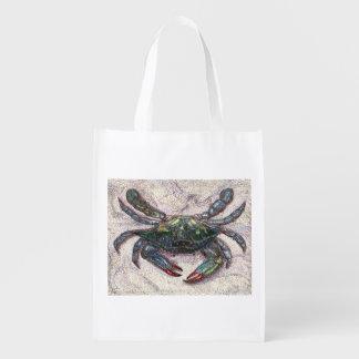 Bolso reutilizable del cangrejo azul de la bahía bolsa para la compra
