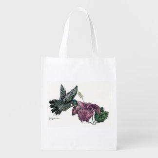 Bolso reutilizable del colibrí y del hibisco bolsas de la compra