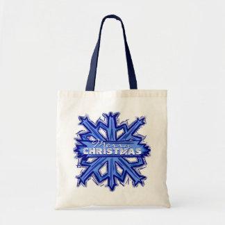 Bolso reutilizable del copo de nieve azul blanco d bolsas