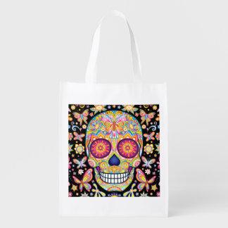 Bolso reutilizable del cráneo del azúcar - día del bolsa para la compra