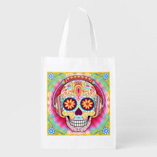 Bolso reutilizable del cráneo del azúcar - día del bolsa de la compra