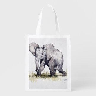 Bolso reutilizable del elefante joven bolsa para la compra