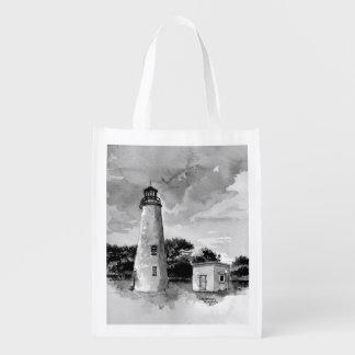 Bolso reutilizable del faro de la isla de Ocracoke Bolsa Para La Compra
