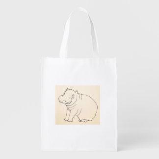 Bolso reutilizable del hipopótamo de Hangry Hangry Bolsa De La Compra