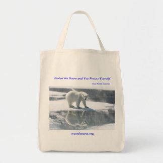 Bolso reutilizable del oso polar bolsa tela para la compra