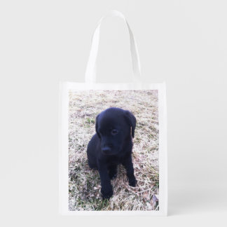 Bolso reutilizable del perrito negro del labrador bolsa para la compra