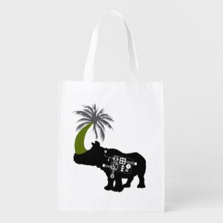 Bolso reutilizable del rinoceronte exótico bolsas para la compra