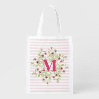 Bolso reutilizable floral bohemio de la rosaleda bolsas para la compra