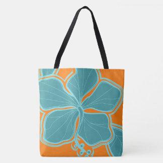 Bolso reversible hawaiano de la playa del hibisco bolsa de tela