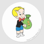 Bolso rico del dinero de Richie - color Pegatinas Redondas