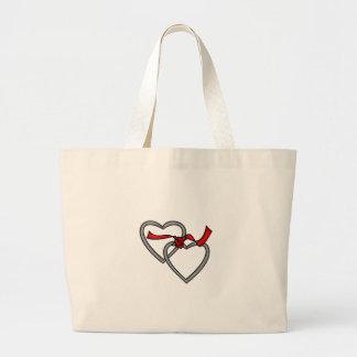 Bolso rojo de la cinta de los corazones de plata bolsa tela grande