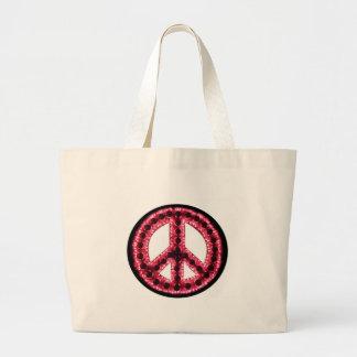 bolso rojo de la paz bolsa tela grande
