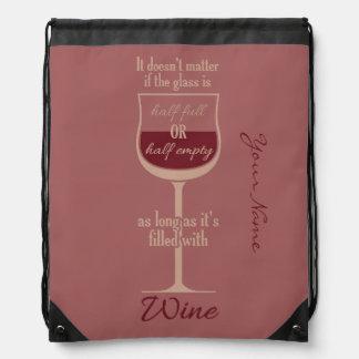 Bolso rojo del personalizado de la copa de vino mochila