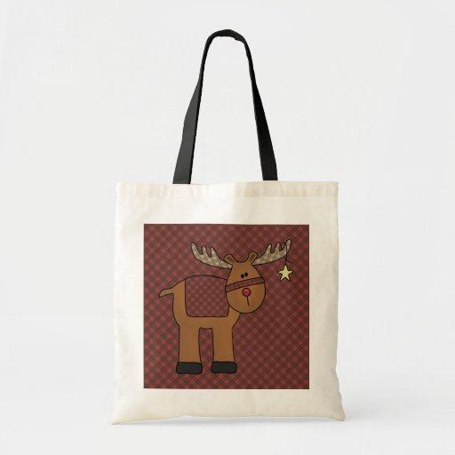 Bolso rojo del regalo del reno y de la estrella de bolsa tela barata