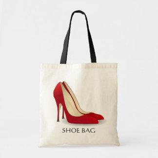 Bolso rojo del zapato de los tacones altos
