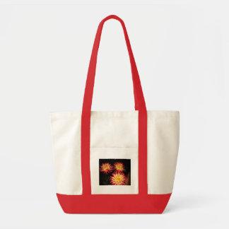 Bolso rojo y amarillo de la dalia bolsa lienzo