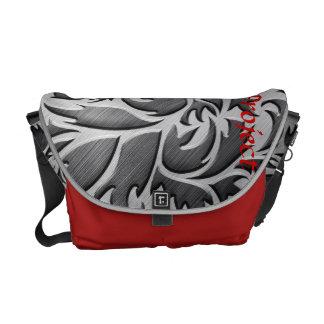 Bolso rojo y negro de la lona del mensajero del ca bolsa de mensajeria