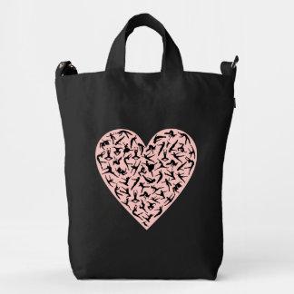 Bolso rosado bonito del corazón de la danza bolsa de lona duck