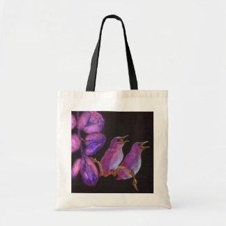 bolso rosado de dos pequeños pájaros bolsas de mano