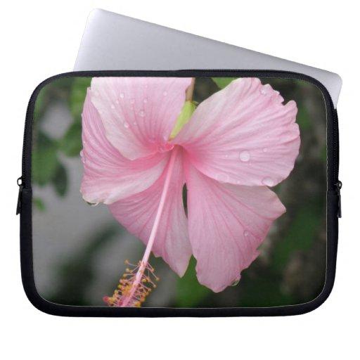Bolso rosado de la electrónica del hibisco mangas portátiles