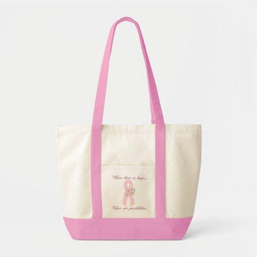 Bolso rosado de la esperanza bolsa tela impulso
