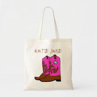Bolso rosado de la plantilla del nombre de la vaqu bolsa de mano