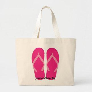 Bolso rosado de la playa del flip-flop bolsa lienzo