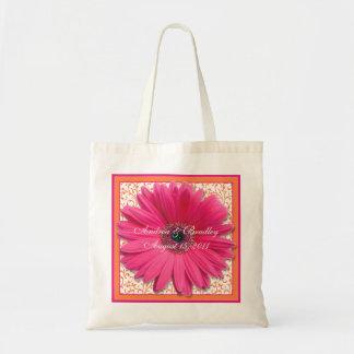 Bolso rosado de la recepción del boda de la margar bolsas lienzo