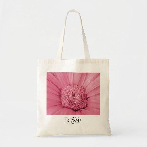 Bolso rosado de las iniciales de la flor de la bolsa tela barata