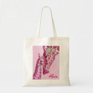 bolso rosado de las jirafas bolsa de mano