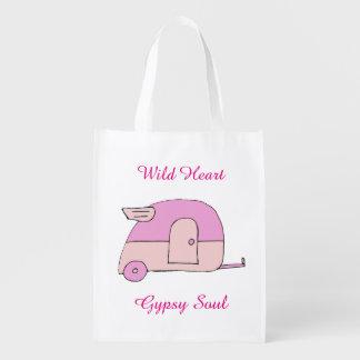 Bolso rosado del campista bolsa de la compra