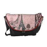 Bolso rosado del collage de París del vintage Bolsa De Mensajeria
