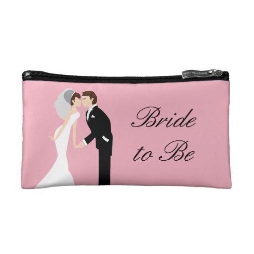 Bolso rosado del cosmético del boda de la novia