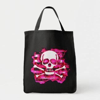 Bolso rosado del cráneo y de ultramarinos de la ba bolsas