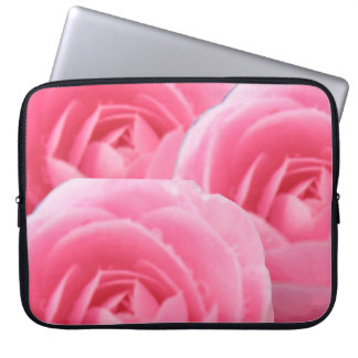 Bolso rosado del ordenador portátil de la camelia mangas computadora