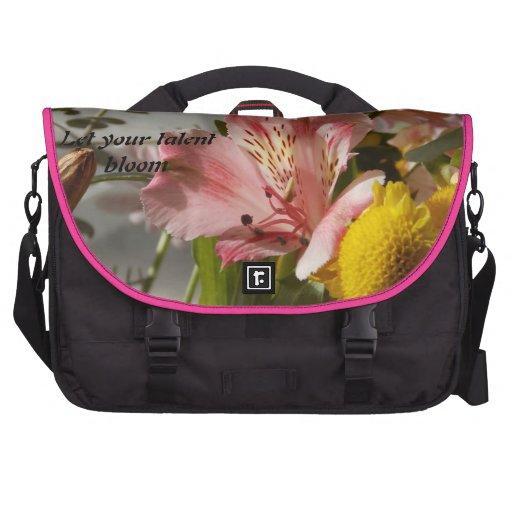 Bolso rosado del ordenador portátil de la flor bolsa para ordenador