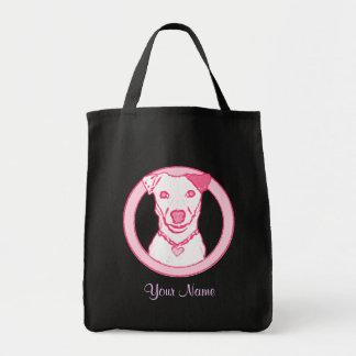 Bolso rosado del perrito bolsa lienzo