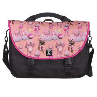 Bolso rosado del viajero del oso de peluche bolsa de ordenador
