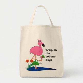 Bolso rosado divertido del flamenco bolsa tela para la compra