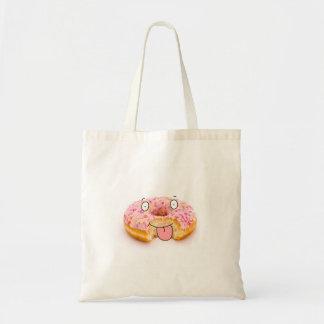 Bolso rosado feliz lindo del carácter del buñuelo bolsa tela barata