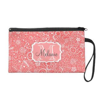 Bolso rosado y blanco de Flowerful del monograma y