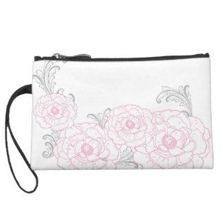Bolso rosado y gris del viaje de la flor