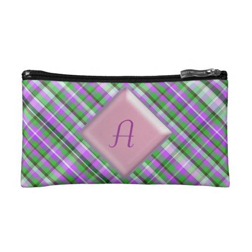 Bolso rosado y verde bonito de Bagettes de la tela