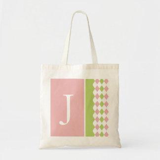 Bolso rosado y verde del monograma del diamante bolsa tela barata