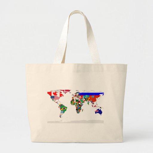 Bolso señalado por medio de una bandera del mundo bolsa de mano