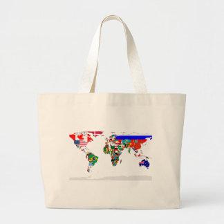 Bolso señalado por medio de una bandera del mundo bolsa tela grande